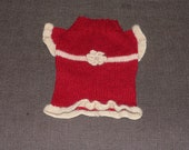 Girl Dog Sweater Red  With Creamy Flower. Wool, warm, hand knitted