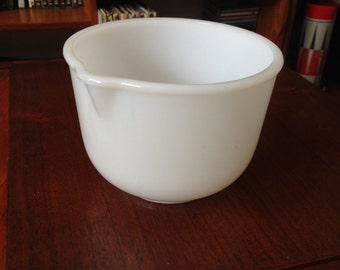 1960s milk glass mixing bowl- Glasbake for Sunbeam