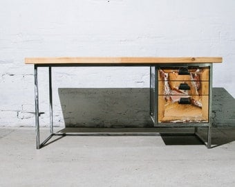 expensively crafted desk with 3 big drawers on a steel frame - one of a kind!
