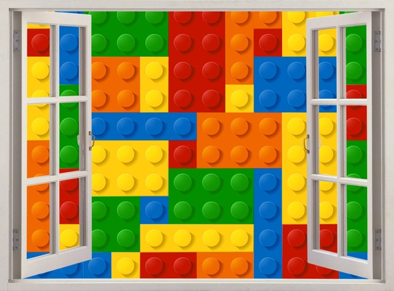 Lego Wall Decal 3d Window Colored Building By