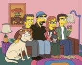 Gens de Familienfoto.Drei définis par l'utilisateur. Photo de famille Commission. Photo de famille bizarre.