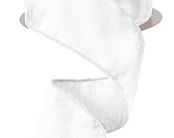 "1.5"" White Silk Ribbon, White Satin Ribbon, White Faux Dupioni Ribbon, Wedding Ribbon, Wired Ribbon (25 yards) - RA200127"
