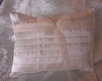 Ivory  satin pleated Wedding ring pillow lace ribbon
