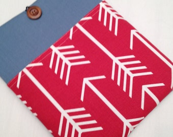 "Macbook air 13"" padded sleeve /Macbook air 13""retina case ./   Made in Maine / denim cover with red arrow fabric"