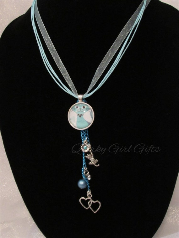 baby blue cat necklace with cat and charms with blue
