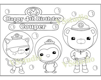 Octonauts Birthday Party coloring page, activity, PDF file