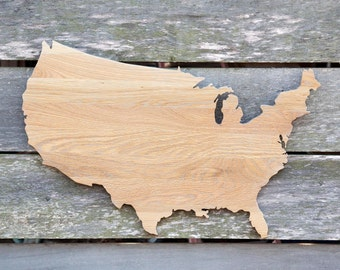 United States shape wood cutout sign wall art with star or heart.  Repurposed Oak flooring. 17 x 27 in. Wedding Country Cabin Rustic Decor