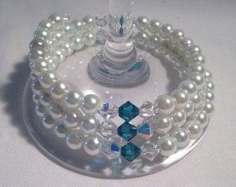 Blue Zircon birthstone bracelet, December birthstone bracelet, december bracelet, blue zircon bracelet, blue bead bracelet, blue bracelet