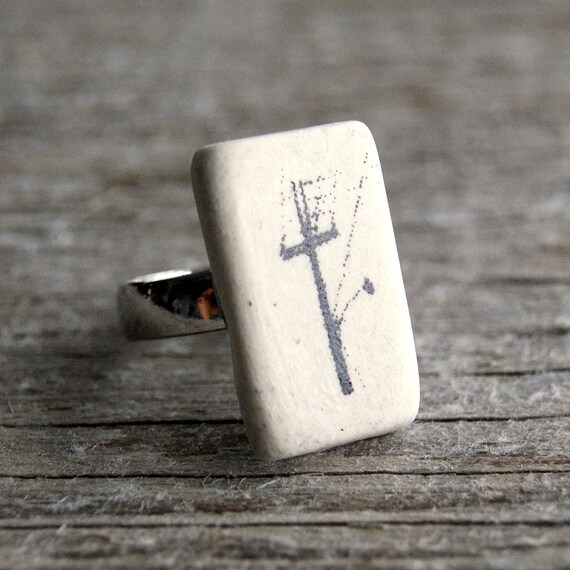 Electric pole print semi porcelain adjustable ring