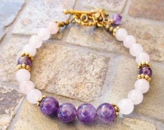 Fertile Nourishment, Fertility Bracelet in Amethyst and Rose Quartz, comes with gemstone dangle and fertility charm!
