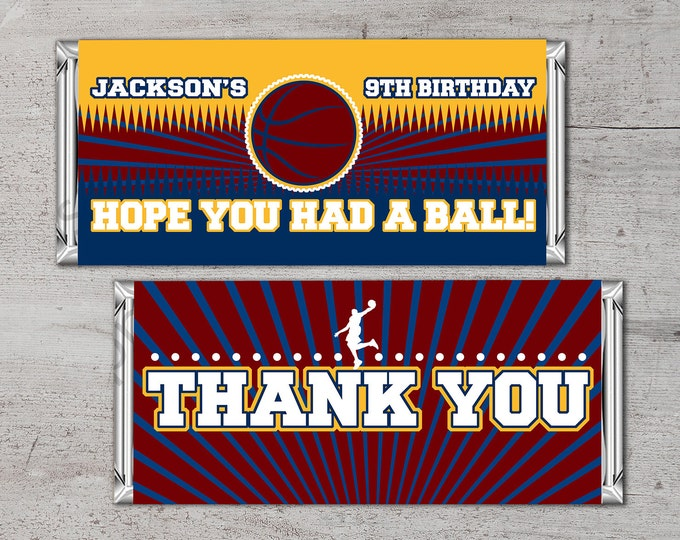 Personalized Basketball Candy Bar Wrapper – Printable Hershey's Bar Wrapper with your message – Basketball Gifts- happy birthday-party favor