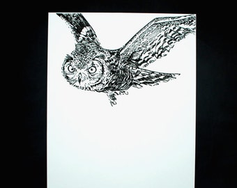 Linocut of an Eagle-Owl, original Art Print, limited edition, paper size 500 x 700 mm.