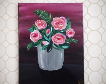 Pink & Plum / Roses Acrylic Painting / 11x14 Canvas Wall Art