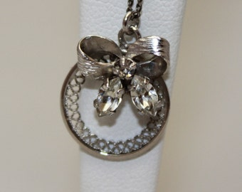 Sterling Silver Bow and Wreath Necklace, Vintage Circa 1980's