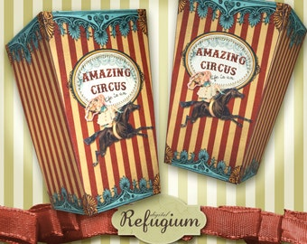 printable  Circus Popcorn Box  INSTANT DOWNLOAD Digital Collage Sheet