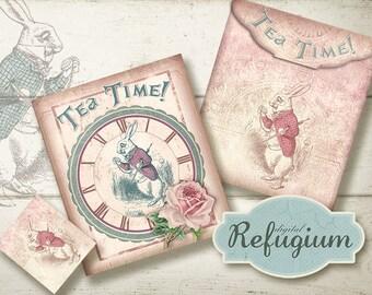 printable Tea Bag Envelope, printable  Alice in Wonderland, Digital Collage Sheet, tea time with the white rabbit/  INSTANT DOWNLOAD