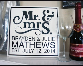 12x12 Mr. & Mrs. Tile That Makes A Perfect Wedding or Anniversary Gift