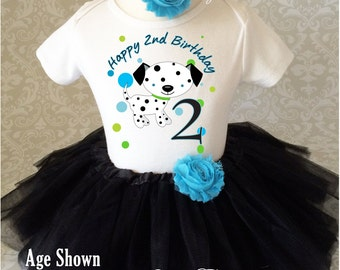 Fast Ship - Birthday Adorable Puppy Dog Doggy Dalmatian Green Blue 2nd Two Second Shirt & Tutu Set Girl Outfit Party Toddler 12 18  2t 3t 4t