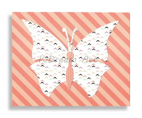 Silhouette de papillon imprimer filles chambre d cor par kidreamart - Silhouette papillon imprimer ...
