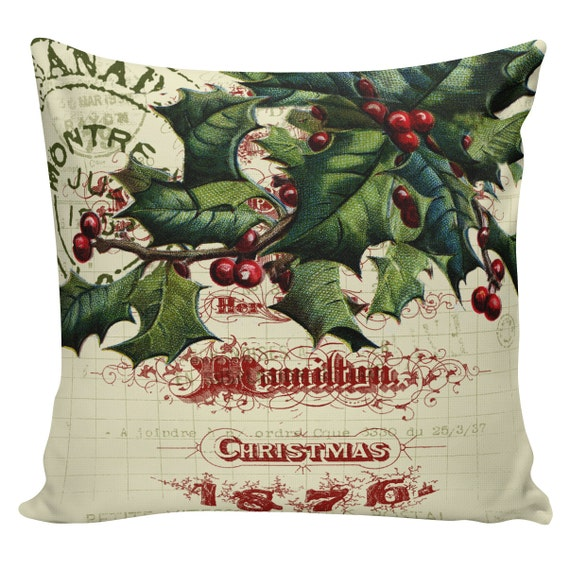 Items similar to Christmas Pillow Cushion Victorian Christmas Holly French style pillow #CC0132 ...