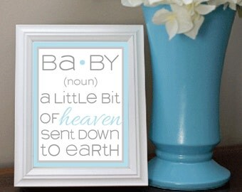 Baby shower sign Baby Noun little bit of heaven blue 8x10 INSTANT DOWNLOAD