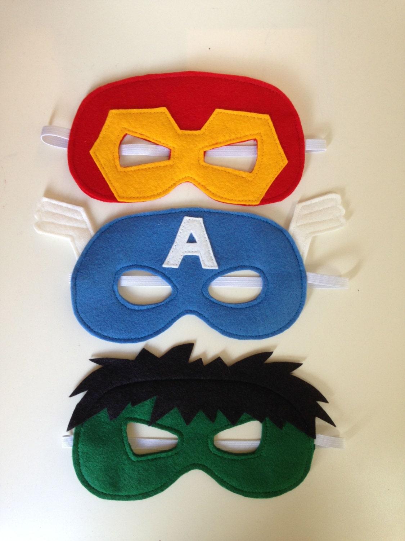 Ironman hulk and captain america felt superhero mask pdf - Masque super heros imprimer ...