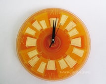 Modern Glass Wall Clock in Orange Yellow and Gold- 10 Inch Wall Clock Kitchen Clock - Hand painted Wall Clock - Home Decor - Wall Decor