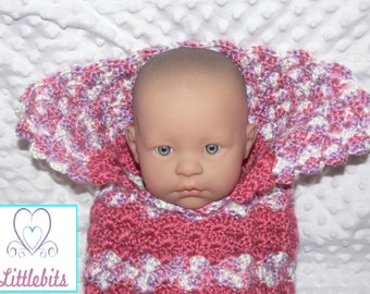 Newborn Baby Crocheted Salmon Pink Cocoon with Collar