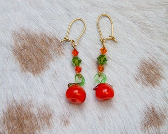 Glass Orange Earrings