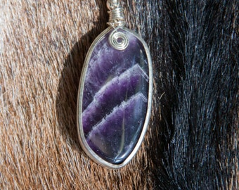 Amethyst Pendant with Wire Swirl Necklace