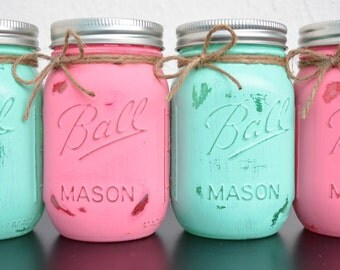 Hand Painted Mason Jar Decor- Four Rustic Styled Painted Jars