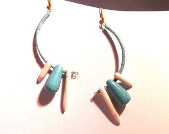 Fun and Funky Turquoise and Magnesite Spike Earrings