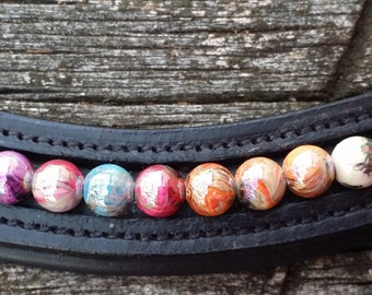 31 Flavors dressage browband for horses with pastel swirl beads