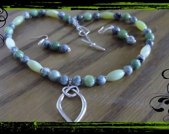 Jade and Jasper necklace and earring set