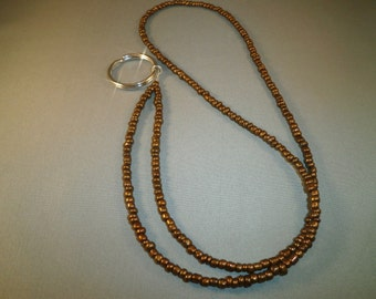 brown beaded ID or ecig lanyard, fits most ecigs,  your choice of attachments: ecig , ID or key holder unique, cute ,fashionable lanyard.