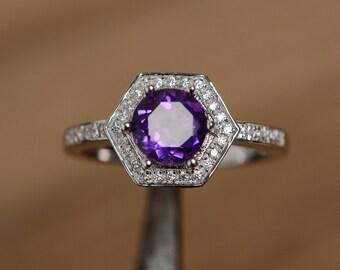 natural amethyst ring hexagon ring purple quartz ring gemstone february birthstone ring anniversary ring for her engagement