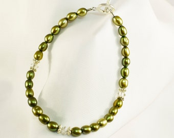 Freshwater Pearl Bracelet, Beautiful Dyed Green Fresh Water Pearl Bracelet, with 925 Sterling Silver Toggle Clasp