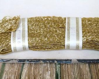 Antique French millinery raffia woven ribbon, metallic gold / corn tones, costume design, downtown abbey, millinery