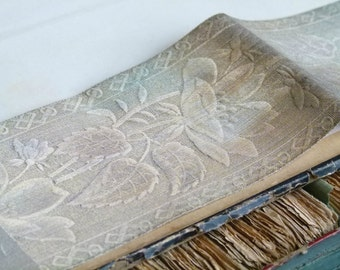 Antique metallic real silver vestment ribbon, floral motif,  millinery hat gatsby, costume design jewellery flapper