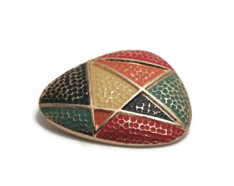 Vintage Geometric Brooch. Multi-coloured, painted, gold-tone metal. Red, yellow, blue, orange, green.