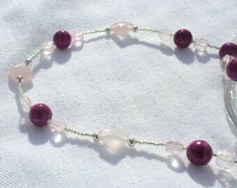 Rose Quartz & Violet Riverstone Necklace