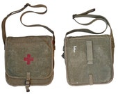 Genuine 1930s Ex-Army Medic Shoulder Bag Red Cross Green Canvas WW2 First Aid Reenactment
