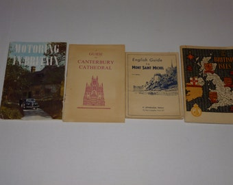 4 Vintage Travel Books/Brochures and Guide Books from Britain and France 1940's 1950's