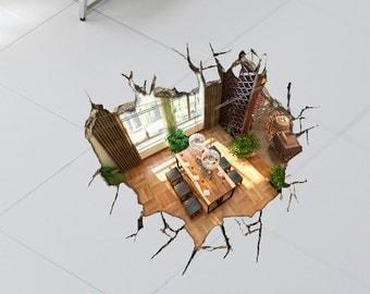 elegant three dimensional wall sticker hotel bedroom decal. Black Bedroom Furniture Sets. Home Design Ideas