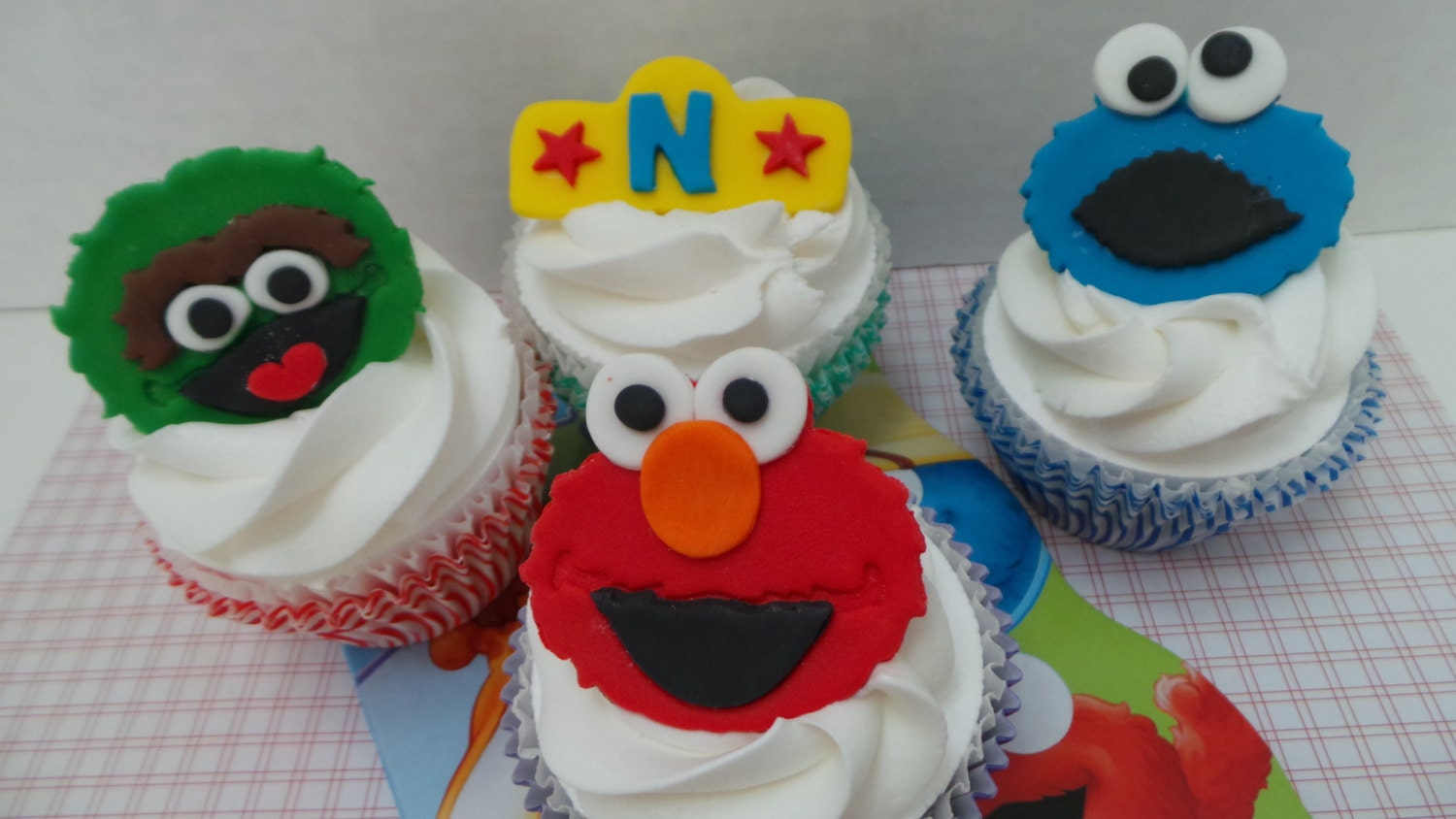 FONDANT Sesame Street Cupcake Toppers or cake decorations.