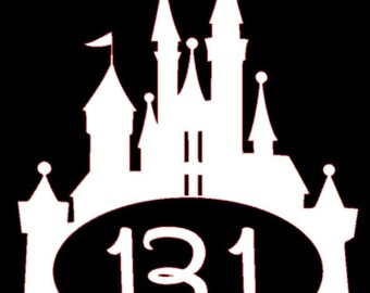 Disney inspired 5k 10k 13.1 and 26.2 Cinderella's castle run vinyl decal in choice of colorsa ako