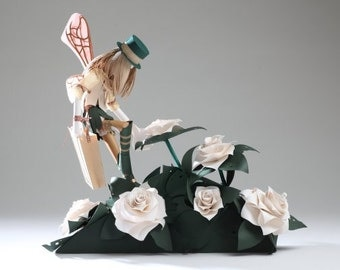 Postcard of original paper sculpture 'Petal-Picker Faery Specimen'