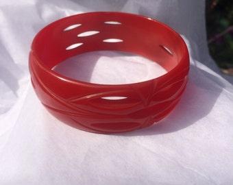 Red Carved Bakelite Bangle