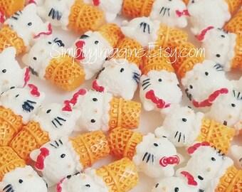 Hello Kitty Inspired Ice Cream Cone Dessert Food Cabochon Resin Flatback - 6 PCS