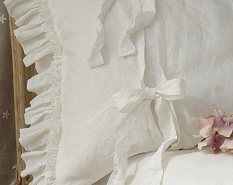 """Pre-washed linen pillowcase 'Diane' with double ruffles and ties. Linen bedding, 20x24"""" 20x26"""" 26x26"""" 20x30"""" 20x36"""" white or gray."""